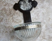 Vintage Holy Water Font with Bakelite Cross and Repousse Saint Joseph and Jesus Medallion, Glass Font, Catholic Home Decor