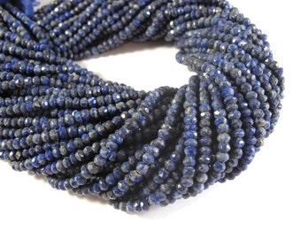 Lapis Lazuli Beads, Small Faceted Lapis Rondelles, 3mm - 4mm, 6.5 Inch Strand of Gemstones for Making Jewelry (R-Lap1)