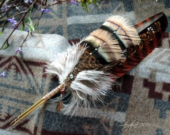 Red FOX FEATHER Totem Feather Quill Pen CSD