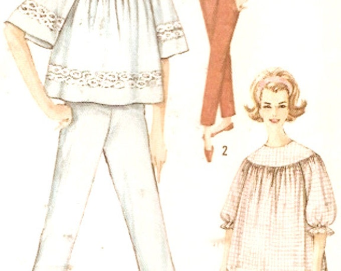 Nightgown pajamas Laundry bag lingerie vintage 60s Sleepwear for women sewing pattern UNCUT Simplicity 4587 Bust 36