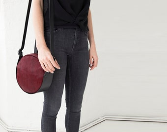 Esme - Handmade Round Leather Shoulder Bag In Deep Red Hair On Hide & Black.