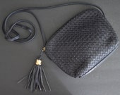 Vintage Jaqueline Ferrar Purse with Tassel -Leather Quilted Dark Navy Blue Crossbody Bag Shoulder Bag Cross Body Rectangular Box