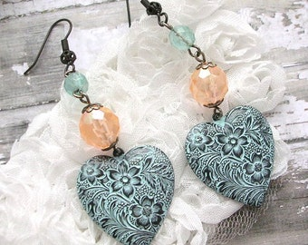Heart Dangle Earrings, Aqua Patina Floral, Pastels Peach Beads, Enamel Patina Shabby Chic, Heart Bead Earrings, Aged Black Brass, Flowers