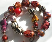Queen of Hearts Art to wear necklace, art glass beads BIG color one of a kind