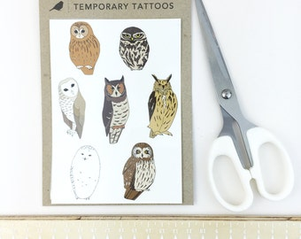 owl temporary tattoos - bird fake tattoo - nature wildlife illustrated body art - barn owl , snowy owl