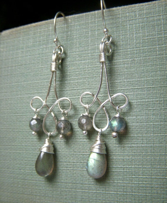 Labradorite Chandelier Earrings Sterling Silver, Flashy Briolette Bohemian Style, Wirewrapped Hand Forged Sterling Silver