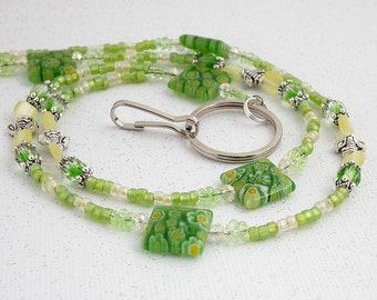 Beaded ID Lanyard - Green Millefiori Beads, Czech Glass Crystals, Silver Pewter Honey Bees