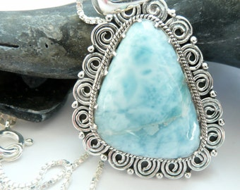 RARE Blue Larimar Stone Sterling Silver Organic OOAK Handcrafted Artisan Boho Beach Hippie Festival Gift for Her Pendant/Necklace
