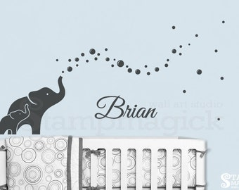 Elephants Wall Decal for Baby Boy Nursery with Blowing Bubbles - vinyl wall decor art children's room - K364G