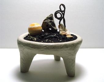 Alien Selenite Agate Planet Footed Handmade Concrete Bowl