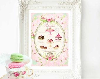 French patisserie, kitchen print, cake print, nursery print, bakery print, A4 giclee