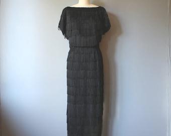 60s fringe dress / 60s does 20s flapper dress / black fringe formal dress