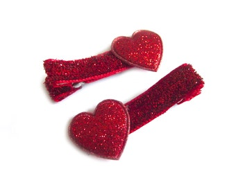 Red Heart Hair Clips Red Hair Clips Red Glitter Hair Clips Valentines Hair Clips Valentines Day Clips Baby Girl Hair Clips Baby Hair Clips