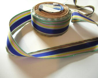"Vintage Rayon Millinery & Dressmaking Ribbon 1 1/2"" Wide Blue, Green, Yellow Striped Taffeta"