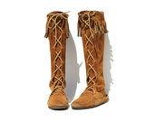 Brown Suede Moccasin Boots / Tall Fringe Boots / size 7
