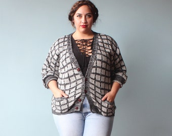 plus size cardigan / black white grid knit sweater / 1980s / XXL