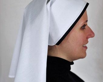 Short White Work Veil with Black Trim Catholic Nun, Nuns Habit NEW