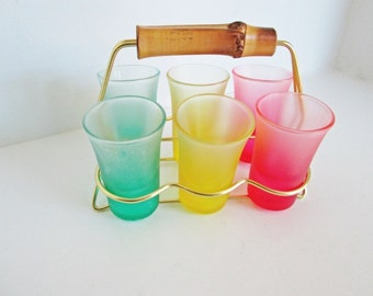 Shot Glass Holder, 6 frosted glasses, Metal Bamboo Caddy Liqueur Set Vintage Glass Carrier Barware Gift red yellow green Art Deco Glassware