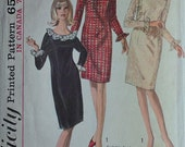 Vintage 1960's Sewing Pattern, Simplicity 6226 One-Piece Dress, Mad Men, Cocktail Dress, Size 12, 32 Bust
