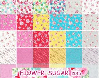 "42-pcs 10"" x 10"" layer cake fabric squares Origami Pack Lecien Japan Flower Sugar 2015"
