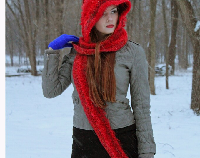 Fuzzy Red Hooded Scarf Hat  Soft Handmade Skood Gifts for Women