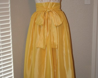 SAMPLE SALE Size 10/12 Med/Large, Guipere Lace Halter dress, Yellow taffeta bow skirt