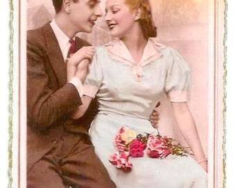 Vintage French LOVERS- ELEGANT COUPLE- French real photo Photo Postcard, Years 1950 written- Pink Background- slight mark left bottom corner