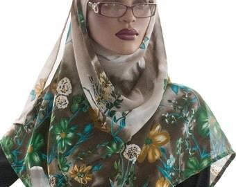 Wrap Scarf Sheer Floral Bloom Beige Green Brown Turban Scarf Tichel Scarf Hijab Scarf Handmade