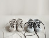 Newborn booties for twins Two pairs natural organic wool boots Felted unisex eco friendly greyish brown grey shoes made by Vaida Petreikis