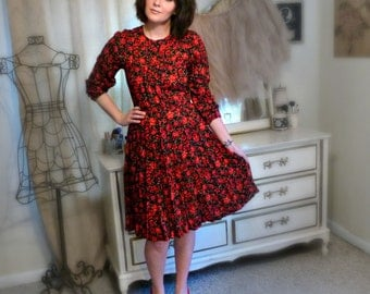 Vintage Black Dress with Red Roses - Size S