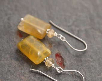 Citrine and Web Agate Earrings