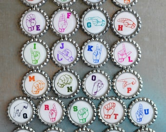 Alphabet Magnets- American Sign Language Alphabet Bottlecap Magnets- MADE TO ORDER- Strong Alphabet Magnets- Occupational, Speech Therapy