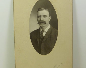 Mustached Man Antique Portrait, Dashing Gentleman in Suit, Early 1900s Cabinet Card Frame