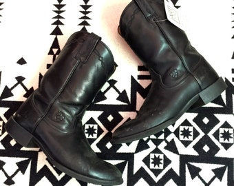 Vintage Cowboy Boots Mens Black Leather Cowboy Boots Size 9.5 D Wide Ariat Brand Southwestern Boots Work Boots Leather Boots Black Leather
