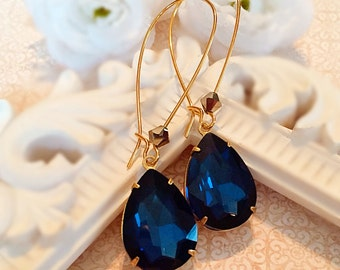 Long Navy Earrings - Blue - Victorian Jewelry - Romantic - SOMERSET Navy