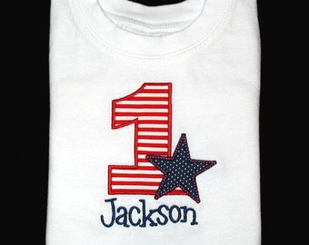Custom Personalized Applique Birthday Number with STAR and NAME Shirt or Bodysuit - Red Stripe and Navy Blue Micro Dots