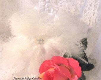 White Flower Girl Basket Feather Flower Girl Basket Wedding Basket Satin Flower Girl Basket Ribbon Rhinestone Choice