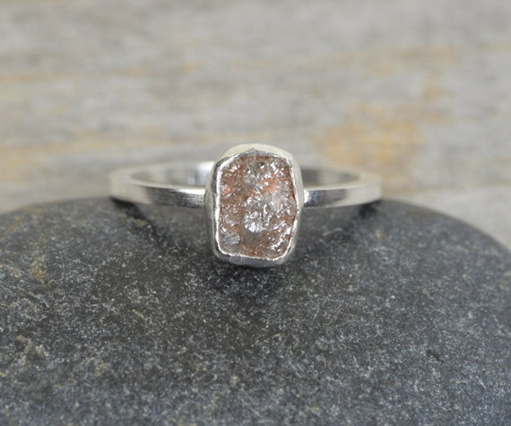 rough diamond engagement ring, light grey raw diamond ring, 1.10ct rough diamond ring, handmade in England