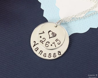 New Mother Personalized Necklace, Monogram Custom Necklace, Baby name, Date Charm,  Brag Sterling Silver, Grandma Necklace, Mothers Day Gift