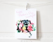 Floral Pug Mother's Day Card - Happy Mother's Day Card - Mom Card - Pug Card - Floral Mother's Day Card - Pug Mom Card - Dog Mom Card