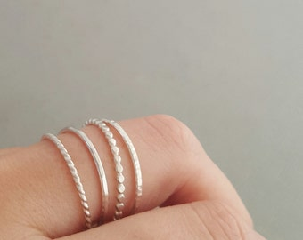 Sterling Silver Rings Stacking Rings set of 4 thin silver stackable rings