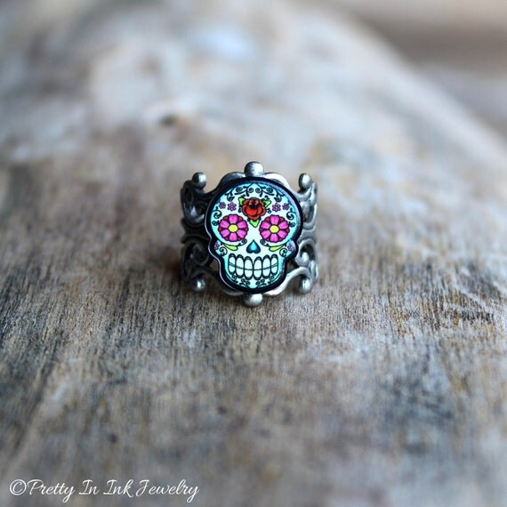 Floral Sugar Skull Ring - Antiqued Silver Filigree Adjustable Band