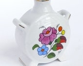 Vintage Floral Handpainted Hungarian Vase - European Hungarian Pottery - China Porcelain Cute Home Decor - Kalocsa Hungarian Folk Art