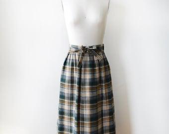 plaid wool skirt, 70s vintage plaid wrap skirt, midi plaid skirt