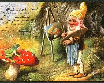 Gnome Painting at Easel - Artist Signed- Antique 1907 Postcard