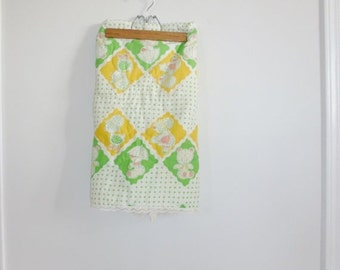 SALE // Vintage Green and Yellow Baby Blanket