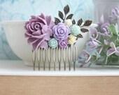 Mint Lavender Comb, Purple Wedding Comb, Mint Purple Flower, Lavender Purple, Ivory, Mint, Brass Leaves Hair Comb, Rustic Bridesmaids Gift
