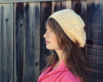 Winter Cream Knit Beret // Winter Slouchy Hat // Cream Knit Hat Beanie // Knit Hat // Knit Beret // Gift