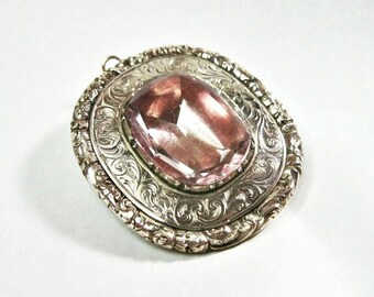 Large Antique Georgian Foiled Back Pink Paste Brooch - C1800 to C1825 - Chased Design - Doubles as Pendant -  27.7 gram