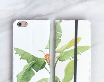 One iPhone Wallet Case Banana Leaf, iPhone 7 / 6 / 6S / Plus Tropical Womens Wallet